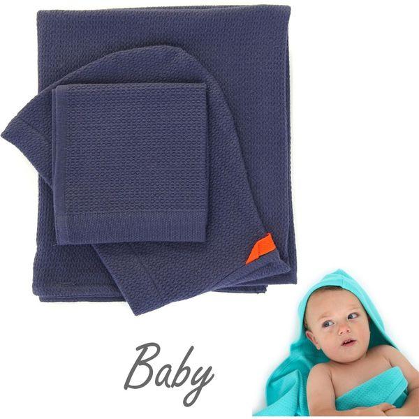 EKOBO ベビーフード付きタオル&体洗いタオルセット-ミッドナイトブルー EB-68845(直送品)
