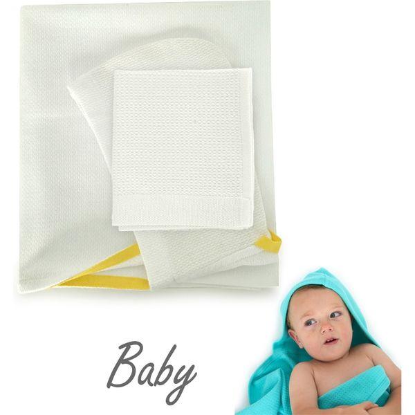 EKOBO ベビーフード付きタオル&体洗いタオルセット-ホワイト EB-69347(直送品)
