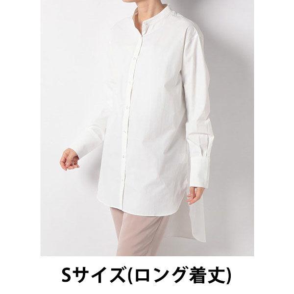 白STallバンドカラーシャツロング着丈