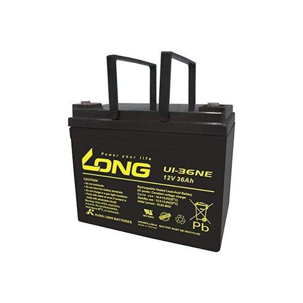 ロング 産業用鉛蓄電池 12V-20時間率-36Ah L-196mm×W-130mm×HT-169mm 電動車系 U1-36NE(直送品)