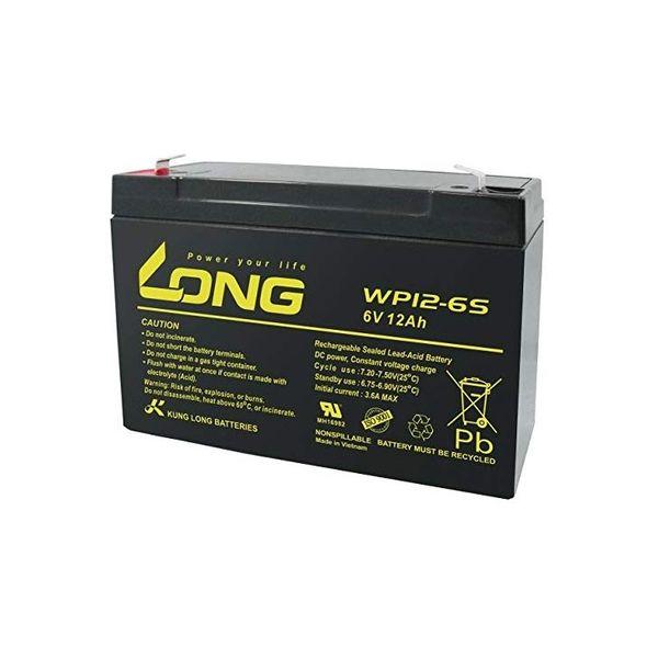 ロング 産業用鉛蓄電池 6V-12Ah NP10-6/互換 標準系 WP12-6S(直送品)