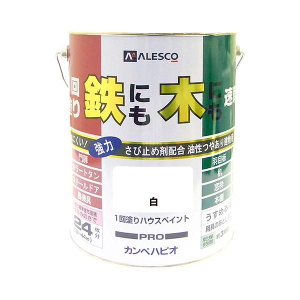 1回塗りハウスペイント 白 4L #00027640011040 カンペハピオ(直送品)