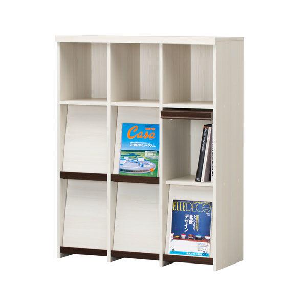 白井産業 重厚感のある本棚 フラップ扉 飾り棚 A4ファイル対応 木製 アイボリー 幅947×奥行413×高さ1223mm 1台 (直送品)