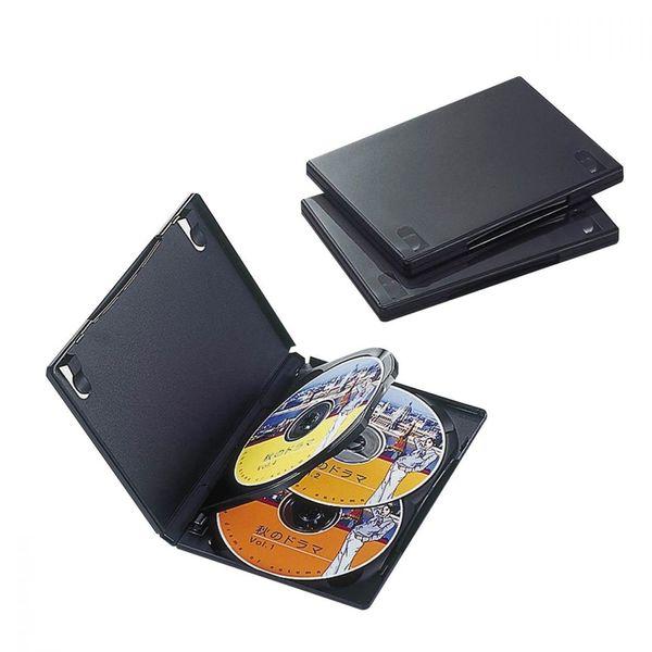 エレコム DVDトールケース 4枚収納 3枚パック ブラック CCD-DVD08BK (直送品)