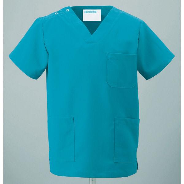 KAZEN スクラブ(男女兼用) 133ー83 ターコイズブルー 4L 医療白衣 1枚(直送品)