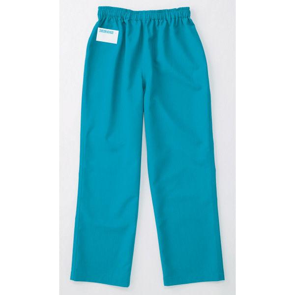 KAZEN スクラブパンツ(男女兼用) 155ー83 ターコイズブルー L 手術スラックス 医療白衣 1枚(直送品)