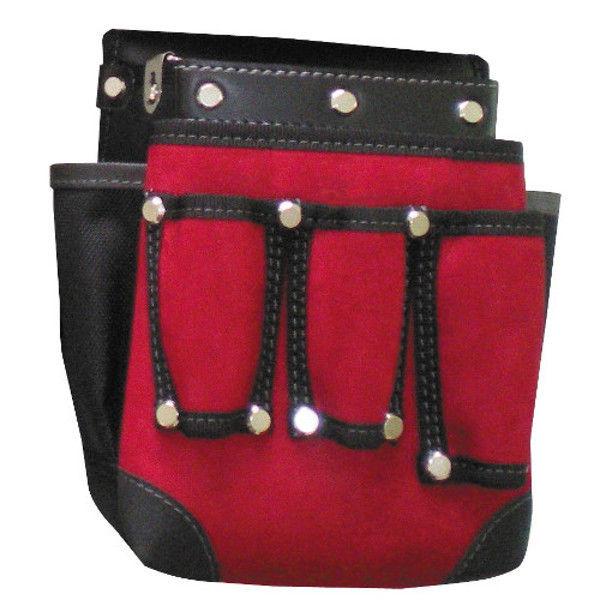 ケイワーク カワタッチ工具差し付き腰袋 赤x黒 PW52 (取寄品)