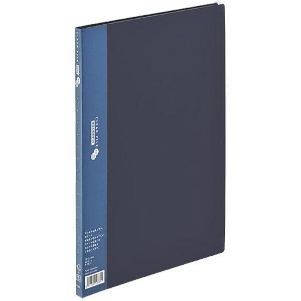 プラス クリアファイルA4S 40P ネイビー FC-124SI 3冊 (直送品)