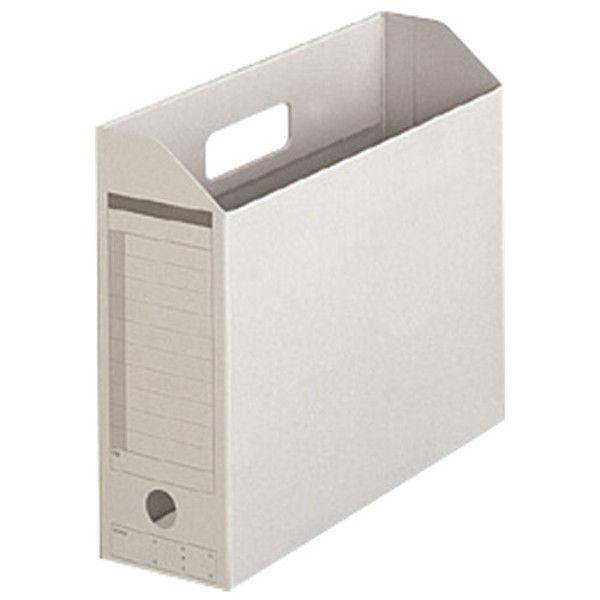 プラス ボックスファイル A4E グレー 10個 FL-051BF GY (直送品)