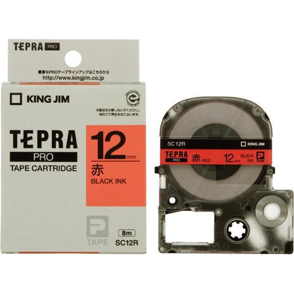 キングジム テプラPROテープ 赤に黒文字 12mm 5本 SC12R-5 1セット (直送品)