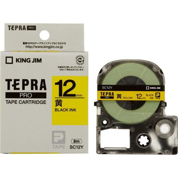キングジム テプラPROテープ 黄に黒文字 12mm 5本 SC12Y-5 1セット (直送品)
