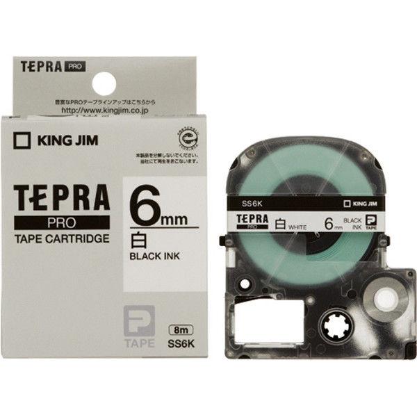 キングジム PROテープ 白に黒文字 6mm 20個 SS6K-20P 1セット (直送品)