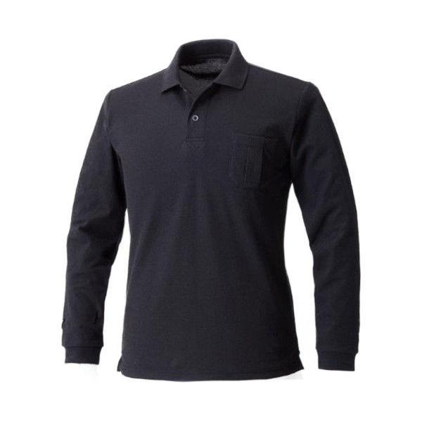 寅壱 長袖ポロシャツ 黒 LL 5860-614-13-LL (取寄品)