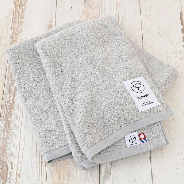 ヘアドライタオル LOHACO lifestyle towel グレー 髪用 約34cm×100cm 2枚 今治タオル