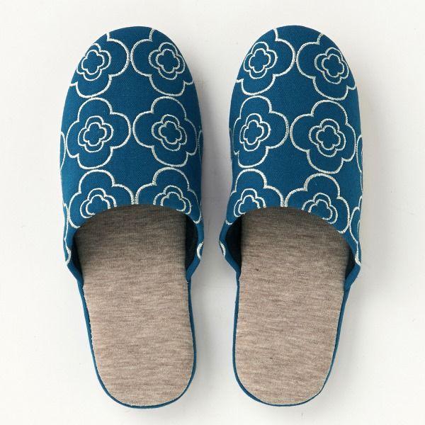 刺繍デザインのキレイスリッパネイビーM