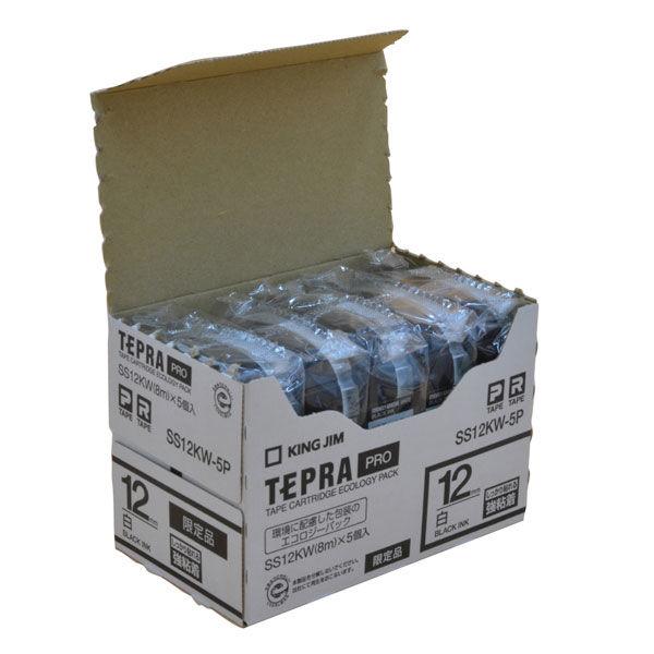キングジム テプラ PROテープ 強粘着ラベル(エコパック) 白 SS12KW-5P 1パック(5個入)