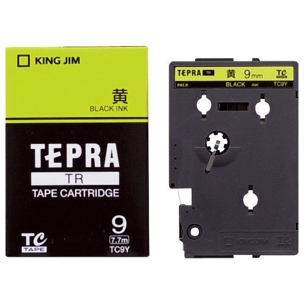 キングジム テプラ TRテープカートリッジ 9mm カラーラベル パステル 黄ラベル(黒文字) 1個 TC9Y