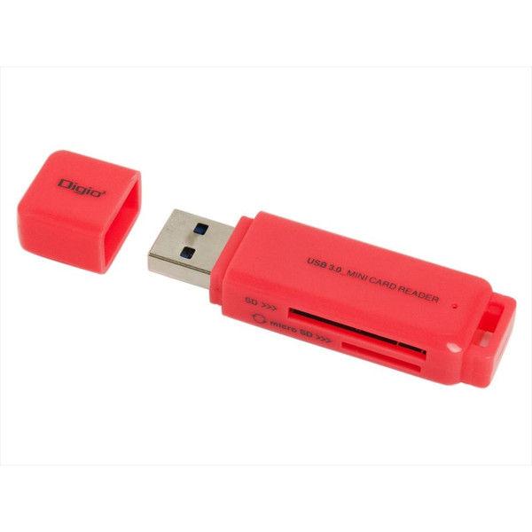 ナカバヤシ USB3.0 SD+microSDカードリーダー・ライター ピンク CRW-3SD62P 1個(直送品)