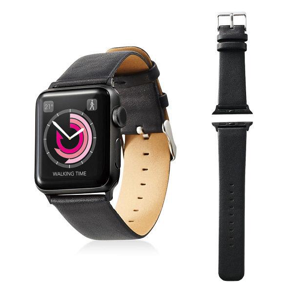 エレコム Apple Watch 38mm/ソフトレザーバンド/フラットスクエアタイプ/ブラック AW-38BDLFSBK 1個 (直送品)