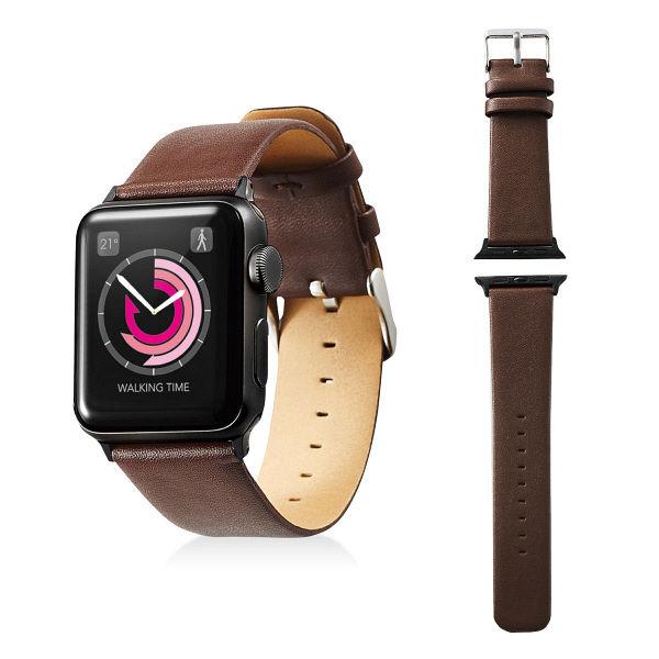 エレコム Apple Watch 38mm/ソフトレザーバンド/フラットスクエアタイプ/ブラウン AW-38BDLFSBR 1個 (直送品)