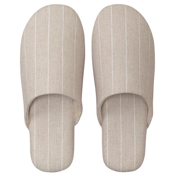 無印良品 綿フランネルソフトスリッパ・L/25~26.5cm用/杢ベージュストライプ