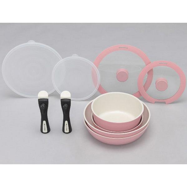 アイリスオーヤマ セラミッククイックパン 10点セット ピンク CQP-SE10C (直送品)