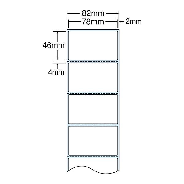東洋印刷 感熱ロールラベル 82mm(ロール)ラベルサイズ78×46mm、ミシン入、裏面タイミングマーク入 THR3D 1箱(4000枚入) (直送品)