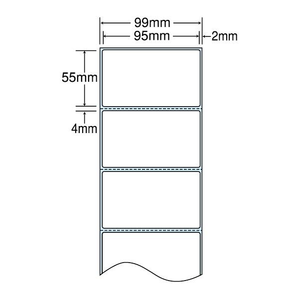 東洋印刷 感熱ロールラベル 99mm(ロール)ラベルサイズ95×55mm、ミシン入、裏面タイミングマーク入 THR3G 1箱(3400枚入) (直送品)