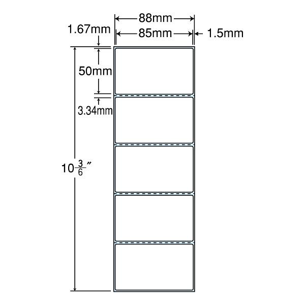 東洋印刷 PDラベル シートサイズ88×267mm、ラベルサイズ85×50mm TM3A 1箱(10000枚入) (直送品)