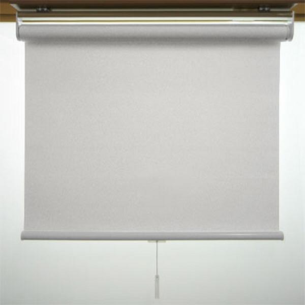 ニチベイ ロールスクリーン エコノミータイプ【防炎】 幅1520mm×高さ1600mm 操作方式:スプリング式 ライトグレイ(PN148) (直送品)