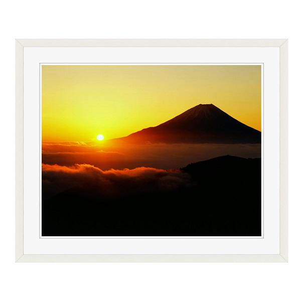 アートプリントジャパン 「丸山林道より望む富士山 日の出」 フレーム/L/ホワイト 1枚