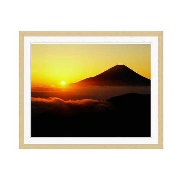 アートプリントジャパン 「丸山林道より望む富士山 日の出」 フレーム/M/木目 1枚
