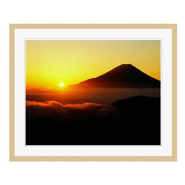 アートプリントジャパン 「丸山林道より望む富士山 日の出」 フレーム/L/木目 1枚
