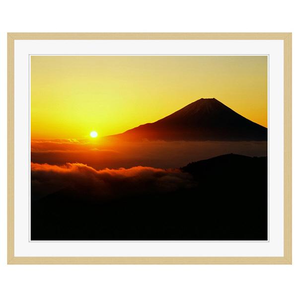 アートプリントジャパン 「丸山林道より望む富士山 日の出」 フレーム/XL/木目 1枚