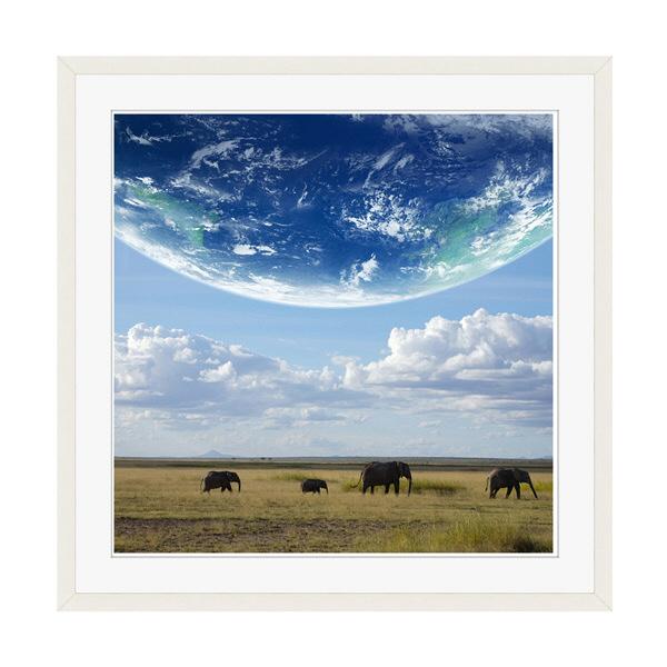 アートプリントジャパン 「地球とアフリカ象」 フレーム/XL/ホワイト 1枚