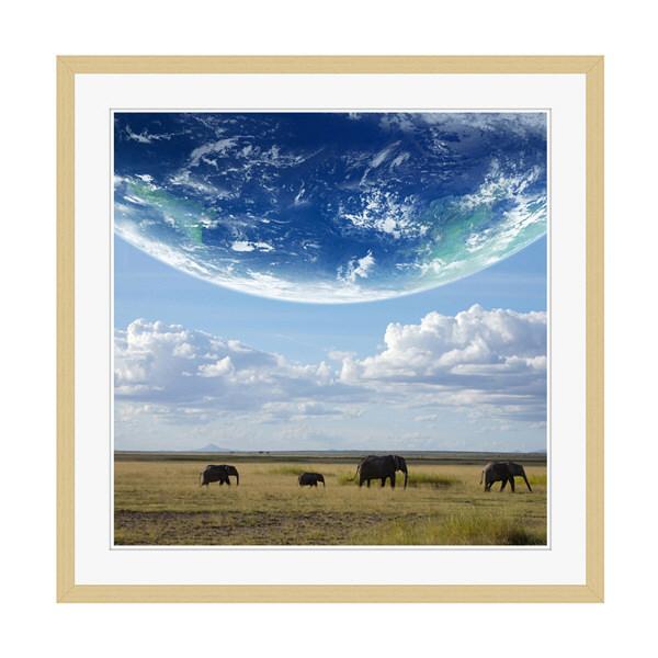 アートプリントジャパン 「地球とアフリカ象」 フレーム/XL/木目 1枚