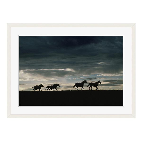 アートプリントジャパン 「馬の群れのシルエットと空(灰色)」 フレーム/L/ホワイト 1枚