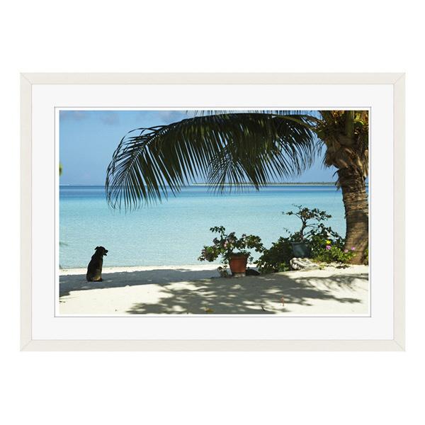 アートプリントジャパン 「lagoon with palm frand and watch dog」 フレーム/L/ホワイト 1枚