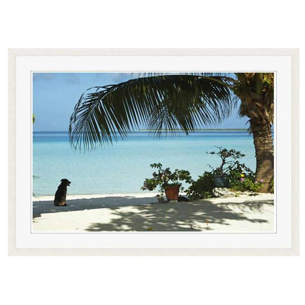アートプリントジャパン 「lagoon with palm frand and watch dog」 フレーム/XL/ホワイト 1枚