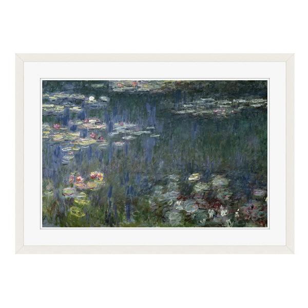 アートプリントジャパン 「Waterlilies: Green Reflections」 フレーム/L/ホワイト 1枚