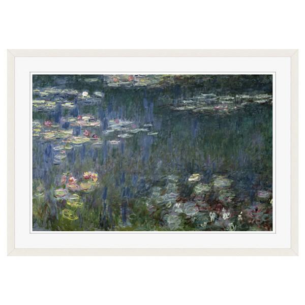 アートプリントジャパン 「Waterlilies: Green Reflections」 フレーム/XL/ホワイト 1枚