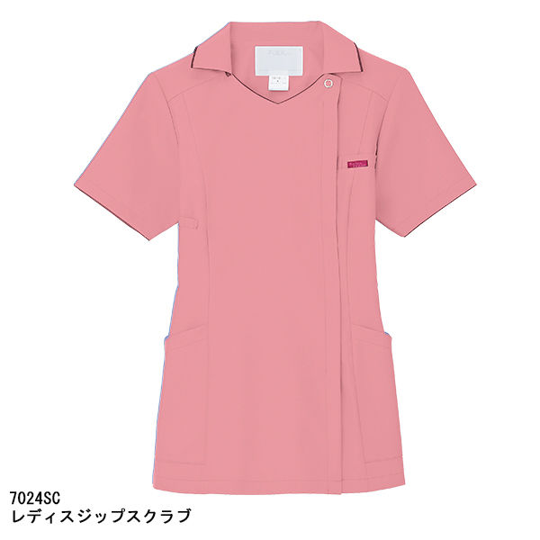 フォーク レディスジップスクラブ(サイドジップ・襟付き) 7024SC-3 ピンク S (直送品)