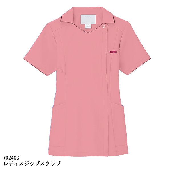 フォーク レディスジップスクラブ(サイドジップ・襟付き) 7024SC-3 ピンク M (直送品)