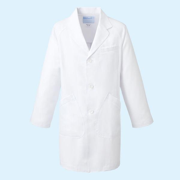 KAZEN クラリタメンズ診察衣(ハーフ丈) ドクターコート 長袖 ホワイト シングル S CMA210 (直送品)