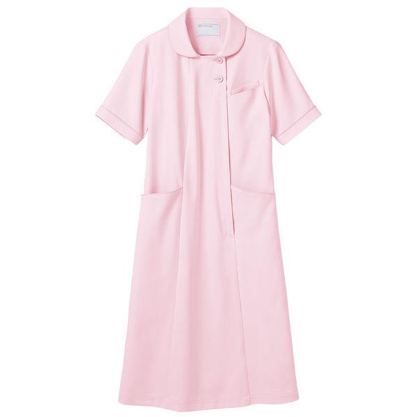 住商モンブラン ラウンドカラーワンピース ナースワンピース 医療白衣 半袖 ピンク M 73-1932 (直送品)