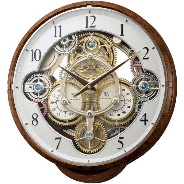 efa82d4301 リズム時計(RHYTHM) スモールワールドシーカー [からくり 電波 掛け 時計] 木目 1