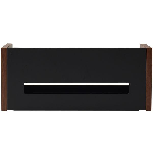 YAMAZEN(やまぜん) 配線収納BOX ロータイプ ダークブラウン/ブラック 1台 (直送品)