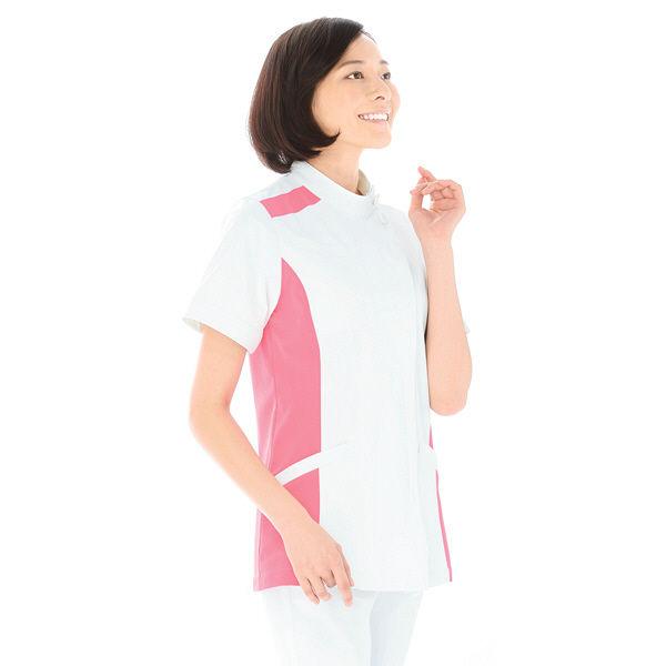 KAZEN レディスジャケット半袖 (ナースジャケット) 医療白衣 ホワイト×チェリーピンク 3L 084-23 (直送品)