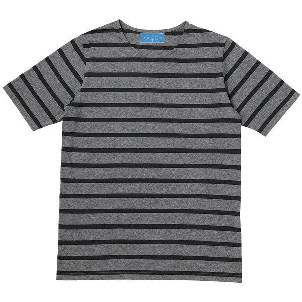 KAZEN(カゼン) ボーダーTシャツ半袖 グレー×ブラック 3L HM22-C/41 1着 (直送品)
