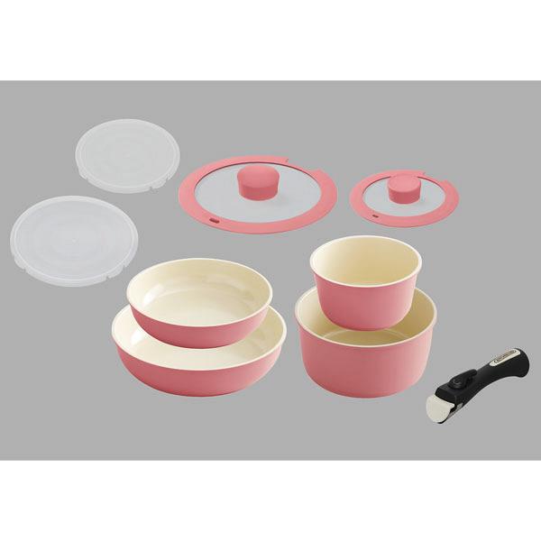 アイリスオーヤマ セラミックカラーパン9点セット ピンク 1セット (直送品)
